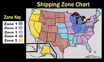 Terms And Conditions - Us shipping zones map